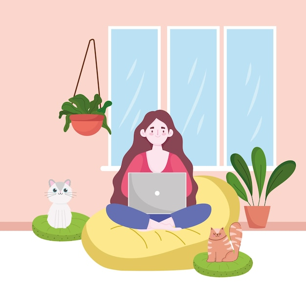 Woman using laptop working, home office with cats and plants home office  illustration