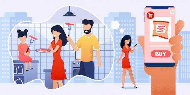 Woman using mobile app for online shopping cartoon