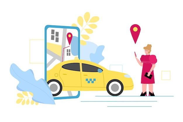 택시를 주문하고 경로를 선택하기 위해 휴대전화 앱을 사용하는 여성, 흰색 배경에 격리된 만화 벡터 삽화. 온라인 택시 서비스 배너입니다.