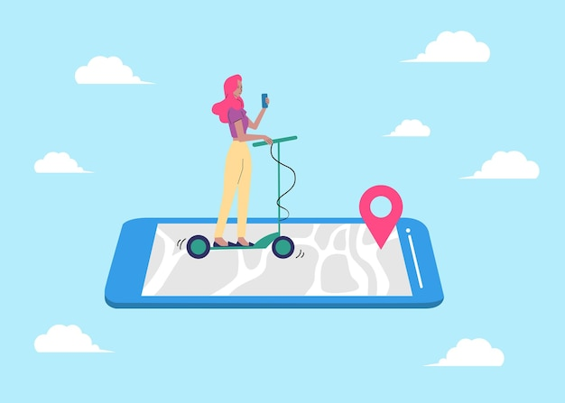 Woman using mobile phone for navigation sketch cartoon vector illustration