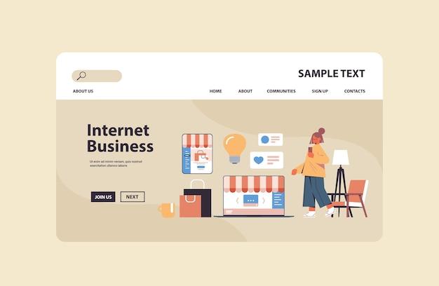 スマートフォンでオンラインショッピングアプリケーションを使用している女性インターネットビジネスeコマースデジタルマーケティングコンセプトコピースペース
