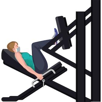 Woman using power line vertical leg press equipment for building her legs muscles