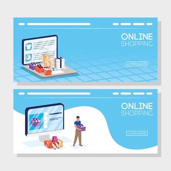 Woman using shopping online tech in desktop