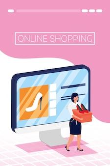 Женщина, используя покупки онлайн технологий в настольном компьютере
