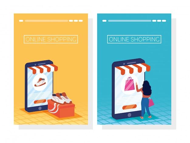Женщина, используя покупки онлайн технологий в смартфонах
