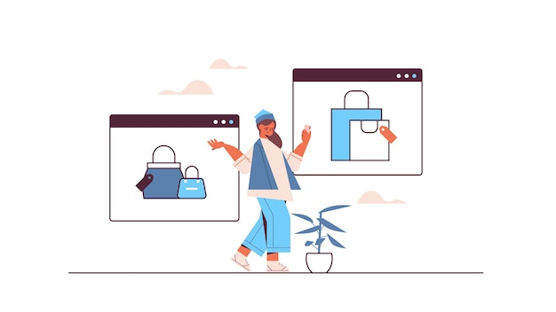 Woman using smartphone application for online shopping ordering and paying e-commerce smart purchasing