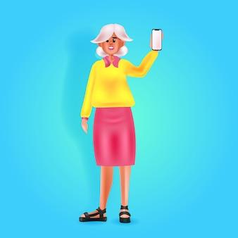 Женщина, использующая смартфон в социальных сетях, концепция онлайн-коммуникации, полная длина