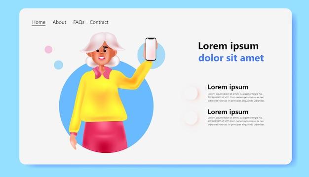 Женщина с помощью смартфона сеть социальных сетей онлайн концепция коммуникации горизонтальная копия пространства портрет векторные иллюстрации