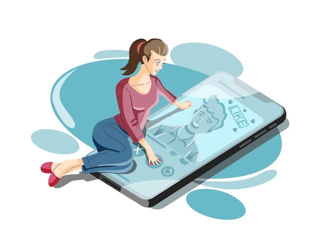 소셜 미디어 날짜 앱 일러스트를 사용하는 여성