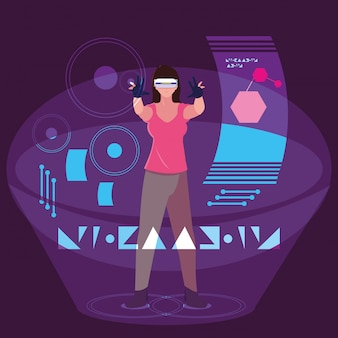 Woman using technology of augmented reality