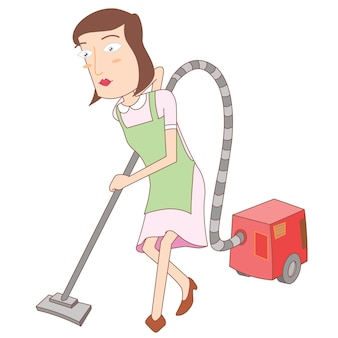 Woman using a vacuum cleaner