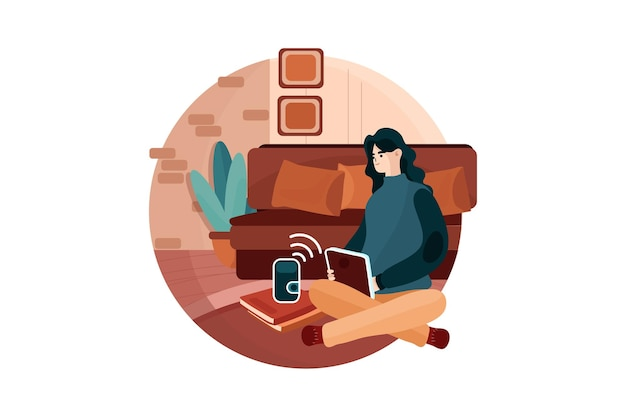 Woman using voice commands to control a smart home devices