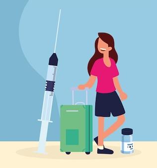여행 예방 접종을 받은 여성