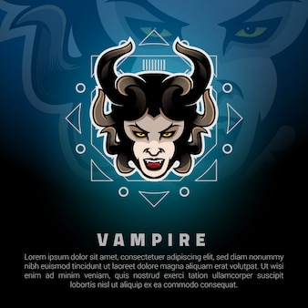 Woman vampire head logo template