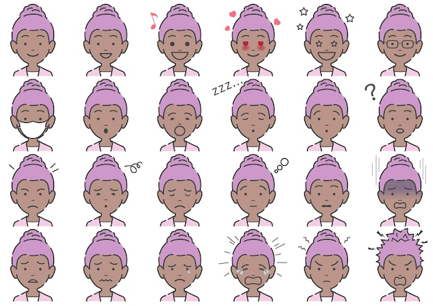 Woman various facial expressions set isolated
