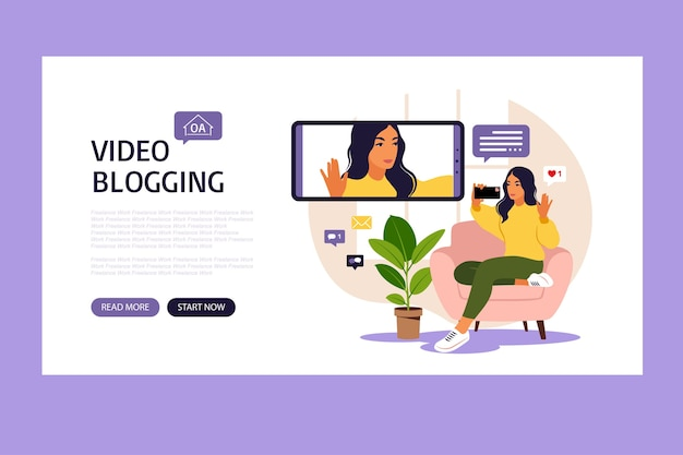 Woman video blogger sitting on sofa with phone and recording video with smartphone landing page different social media icons