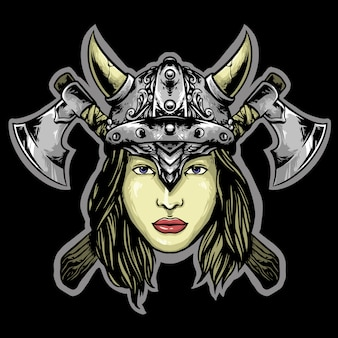 Woman viking logo mascot design