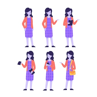 Woman in violet dress character poses