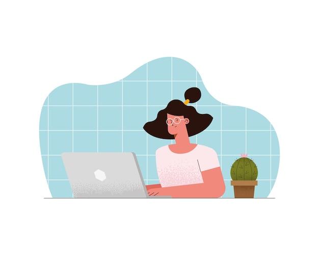Woman in virtual class