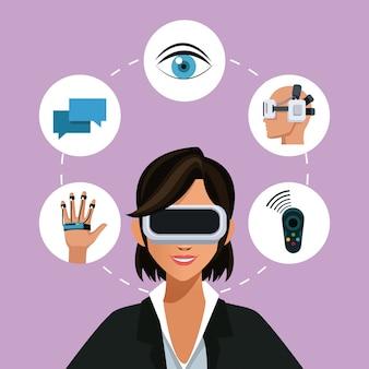 女性のバーチャルリアリティ眼鏡接続ウェアラブルスマート