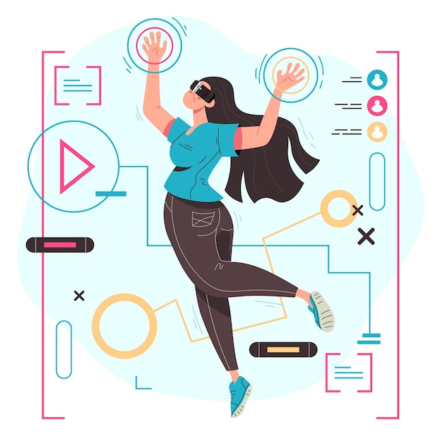 Woman in virtual reality glasses making 3d vision concept