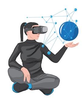 Donna in cuffia avricolare di realtà virtuale che crea una rete nel suo palmo