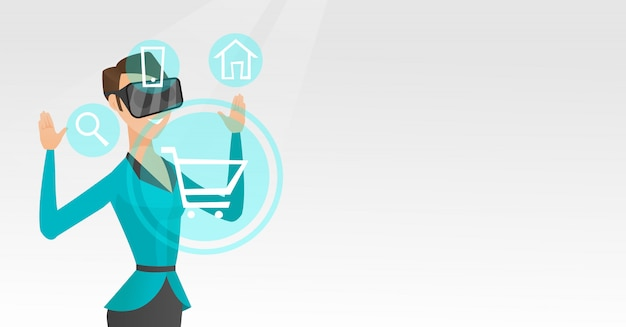 Woman in virtual reality headset shopping online