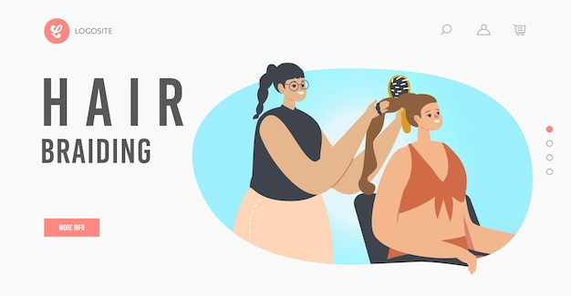 Woman visiting beauty salon landing page template. master character doing braiding hairstyle for girl use comb front of mirror. beautician grooming place, fashion. cartoon people vector illustration