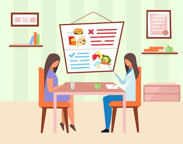 여자 방문 영양사 그림입니다. 건강하고 해로운 음식 재료 만화 캐릭터를 설명하는 의사. 신선한 야채, 매일 식사를위한 유제품을 제공하는 영양사