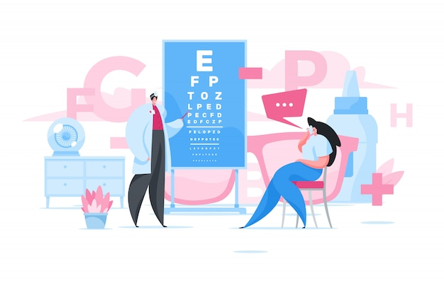 Woman visiting ophthalmologist in clinic.   illustration