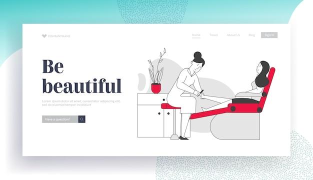 Woman visiting pedicure salon for beauty procedure website landing page.