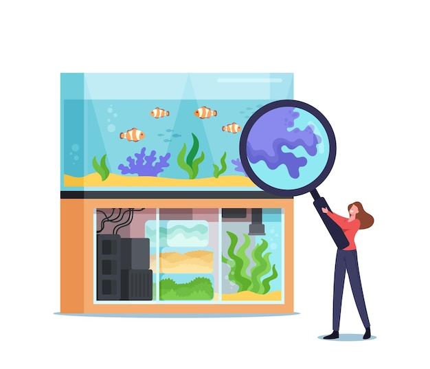 Woman visiting pet shop for choosing and buying aquarium stuff, feed for fish. tiny female character at zoo market look on tropical fishes through huge magnifying glass. cartoon vector illustration