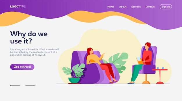 Woman visiting psychologist landing page template