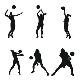 女、ボール、ビーチ、チームワーク、ロゴ、イラスト