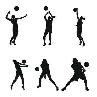 Woman volly ball beach or team work logo illustration
