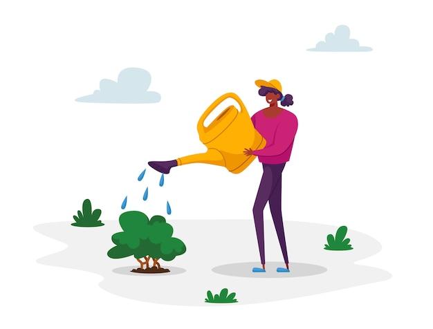 Женщина-волонтер заботится о поливе зеленых растений из банки