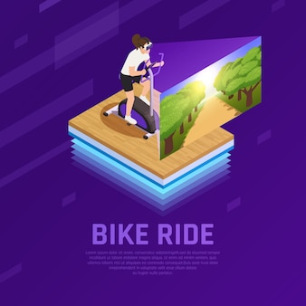 Woman in vr glasses with virtual nature on stationary bike isometric composition on purple