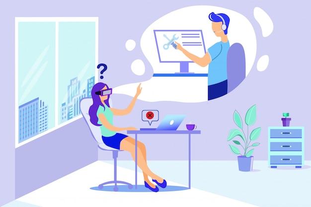 Woman in vr goggles man repairman virtual help
