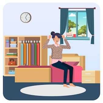 Женщина просыпается с постели в помещении иллюстрации