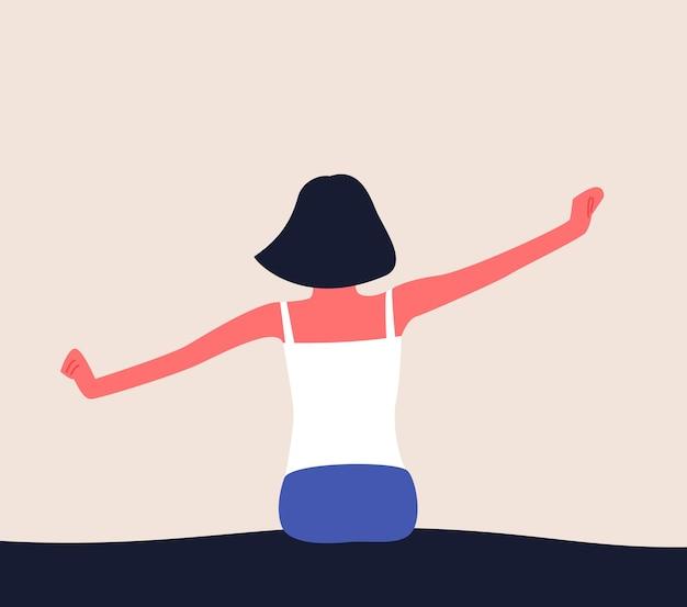 女性は朝起きて腕を上げてベッドでストレッチしている目覚めのフラットなイラスト