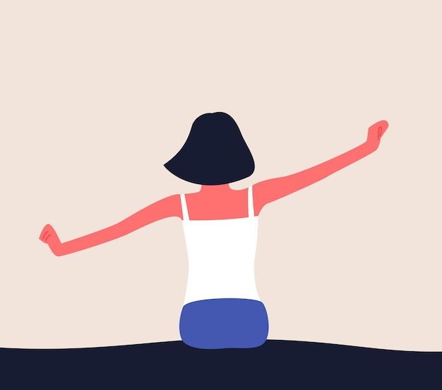 Woman wake up in the morning stretching in bed with raised arms flat illlustration of waking up