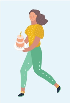 歩いてバースデー ケーキを運ぶ女性。