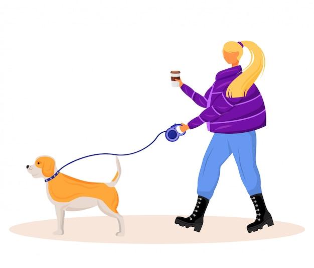 Женщина гуляя собака плоский характер