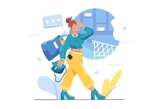 식료품으로 가득 찬 가방을 들고 가게에서 걷는 여자, 여자는 고립 된 헤드폰을 착용하고 그녀의 손에 가방을 들고