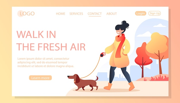 Woman walking her happy dog in autumn park, pet care concept, dachshund dog, illustration for site page