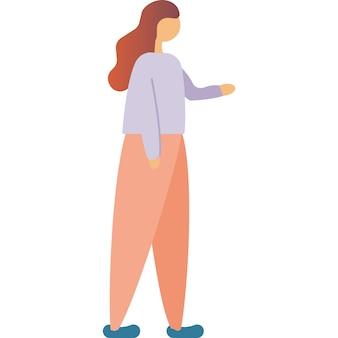 白で隔離される趣味のアイコンベクトルを歩く女性