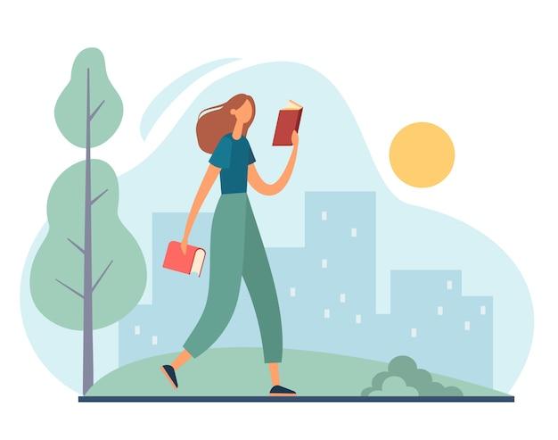 公園を歩いて読んでいる女性。漫画イラスト