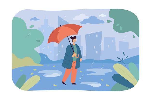 우산 평면 일러스트와 함께 빗 속에서 산책하는 여자. 가을 시즌과 비오는 날씨를 즐기는 소녀.