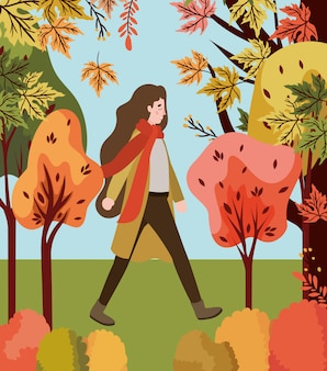 Woman walking with autumn suit in the park
