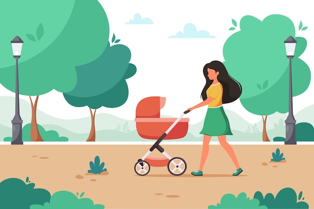 Woman walking with baby carriage in city park outdoor activity